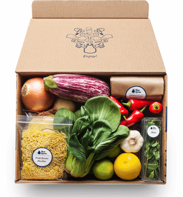 Blue Apron box opened