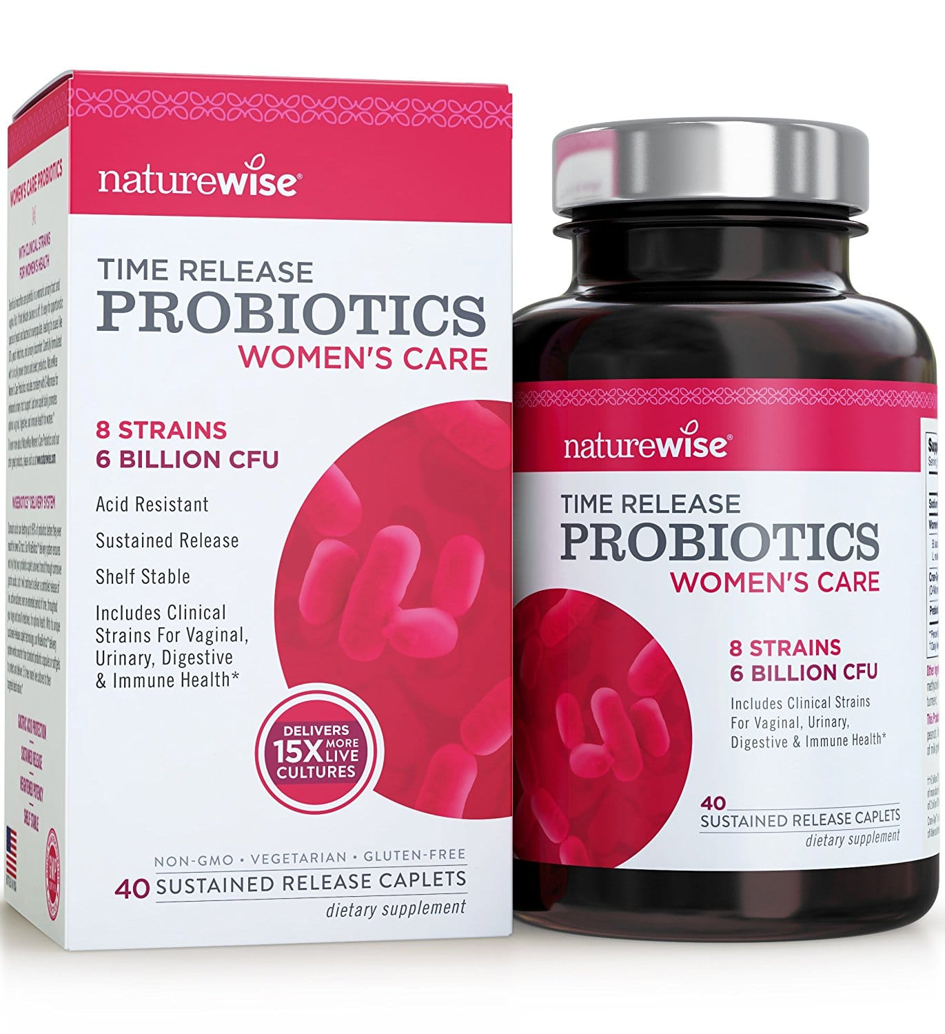 Packaging and Bottle of NatureWise Women's Probiotics
