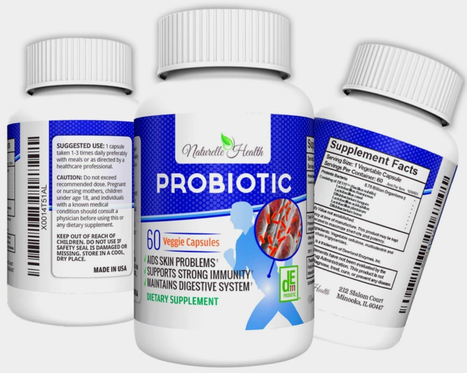 Bottles of Naturelle Health Probiotics Supplement