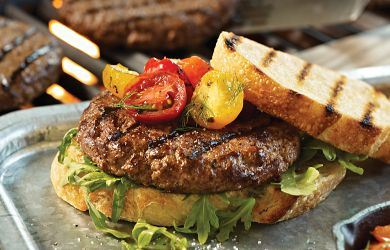 Steak Burger with Grilled Cherry Heirloom Tomato