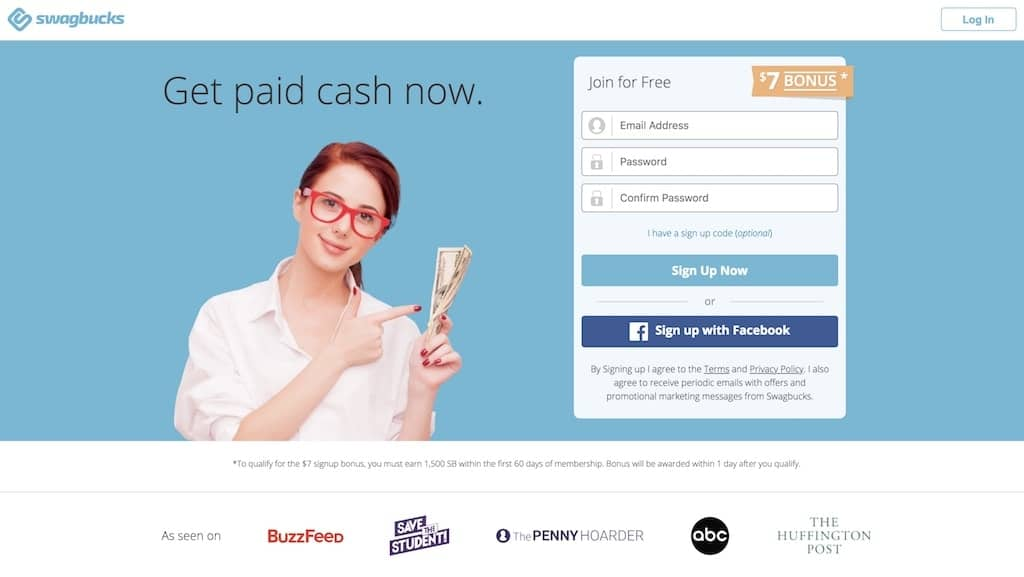 swagbucks.com screenshot to join