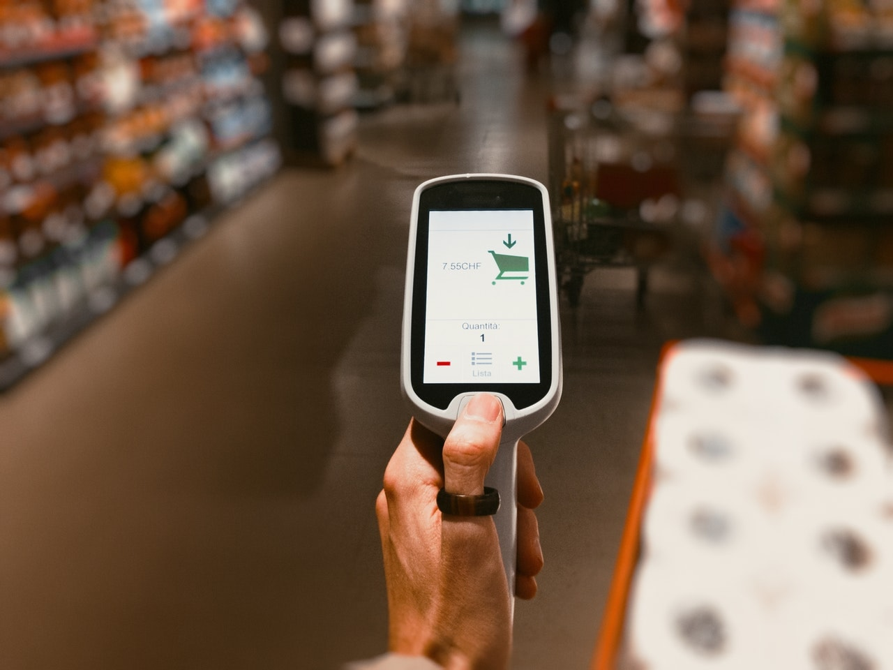 Barcode scanner on grocery store
